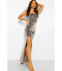 geplooide maxi jurk met fluwelen korset, grey