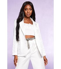 pearlised woven tailored blazer, ivory
