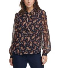 tommy hilfiger paisley-print tie-neck blouse