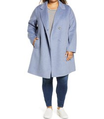 plus size women's sam edelman notch collar coat, size 3x - blue
