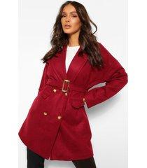 nepwollen jas met ceintuur en militaire knoop, bordeauxrood