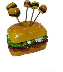 paliteiro em cerâmica formato hambúrguer com 5 garfinhos