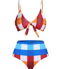 plaid print front knot padded bikini swimsuit