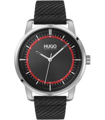 hugo men's #reveal black leather strap watch 44mm