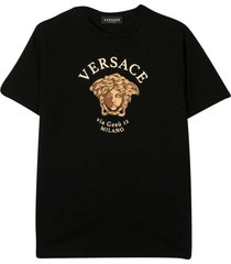 young versace black t-shirt with frontal print