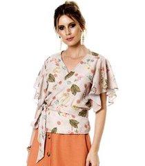 blusa bisô transpassada feminina
