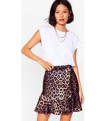 womens gimme gimme roar belted leopard skirt - brown