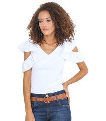 blusa con mangas bolero blanca unipunto 32317