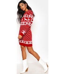 reindeers & snowflake christmas sweater dress, red