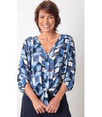 blusa ervadoce decote v amarração viscose prisma feminina - feminino