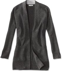 cashmere open front cardigan sweater, dark charcoal, x large