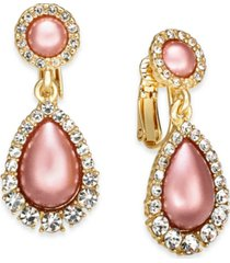 charter club gold-tone pave & imitation pearl clip-on drop earrings, created for macy's
