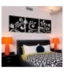 adesivo de parede de cabeceira floral em quadros - g 50x154cm