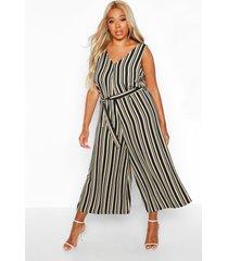 plus stripe self belt culotte jumpsuit, stone