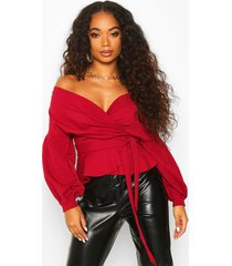 petite off the shoulder blouse, berry