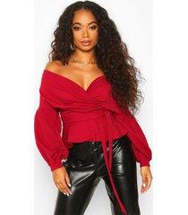 petite blouse met open schouders, berry