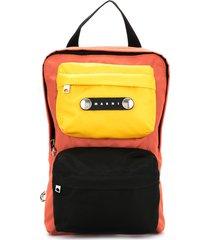 marni paneled backpack - brown