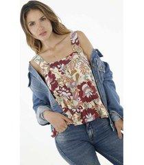 camisa para mujer topmark, estampada y de tiras