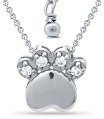 "giani bernini cubic zirconia paw print pendant necklace in sterling silver, 16"" + 2"" extender, created for macy's"