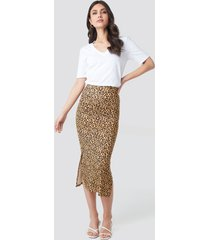 na-kd party jesey side slit leo printed skirt - brown,yellow