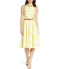 petite women's eliza j halter fit & flare dress, size 8p - yellow