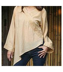 cotton blouse, 'china paths in light brown' (thailand)