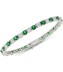 cubic zirconia green tennis bracelet in sterling silver