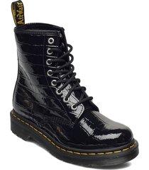 1460 w black patent lamper croc emboss shoes boots ankle boots ankle boot - flat svart dr. martens