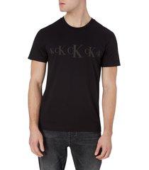 camiseta de algodón reciclado negro calvin klein