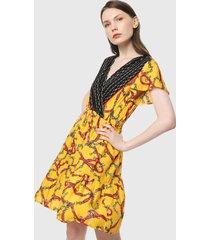 vestido amarillo-multicolor paris district