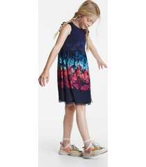 multicolour tulle butterflies dress - blue - 13/14