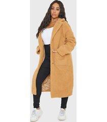 abrigo missguided plus size pocket borg crombie  camel - calce regular