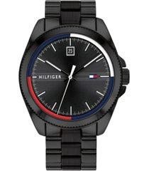 tommy hilfiger men's black stainless steel bracelet watch 44mm