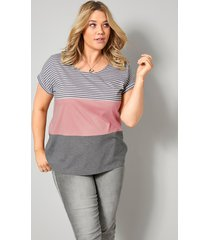 shirt janet & joyce lichtgrijs::wit::roze