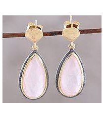 gold accented rose quartz dangle earrings, 'rosy antiquity' (india)