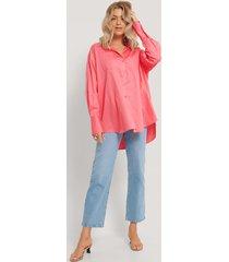 na-kd reborn recycled oversize skjorta med ficka - pink
