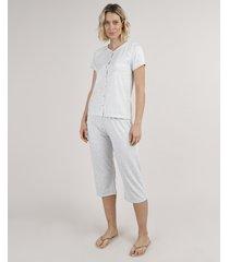 pijama feminino com botões e renda manga curta cinza mescla