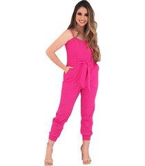 macacão linho look belle jogger pink