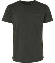 no excess slub granddad collar t-shirt dark green