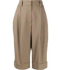 brunello cucinelli wide leg tailored shorts - brown