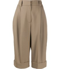 brunello cucinelli wide leg tailored shorts - brown