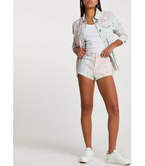 river island womens pink low rise paisley print hotpant shorts