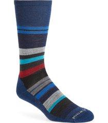men's smartwool saturnsphere stripe crew socks, size large - blue