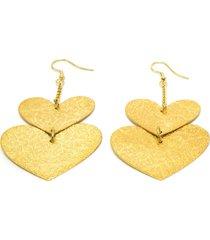 aretes de mujer dorado cuori design brass colection by vestopazzo