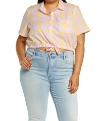 bp. windowpane crop button-up shirt, size 1x in pink- yellow windowpane at nordstrom