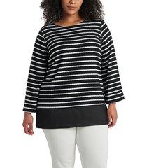 plus size women's vince camuto stripe knit tunic, size 2x - black