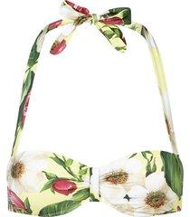 dolce & gabbana floral-print bandeau bikini top - green