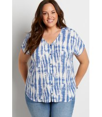 maurices plus size womens tie dye button front blouse white