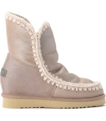eskimo mou inner wedgeshort booties in stone metallic sheepskin