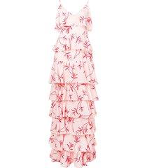 borgo de nor olive branch print ruffled tier dress - pink